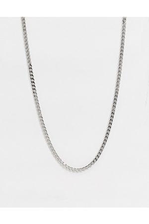 Icon Brand Collar de cadena barbada de acero inoxidable plateado de