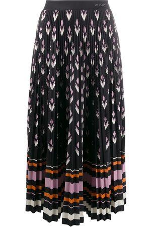 VALENTINO Mujer Estampadas - Falda plisada con múltiples estampados