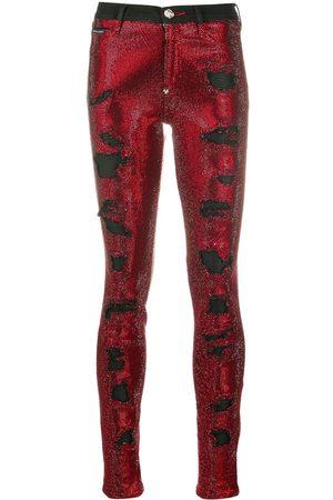 Philipp Plein Mujer Cintura alta - Vaqueros pitillo con detalles de cristal