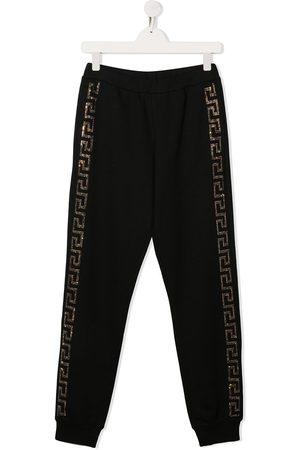 VERSACE Pantalones de chándal con logo de strass
