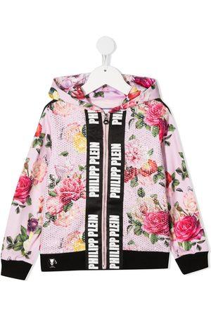 Philipp Plein Studded floral print cotton jacket