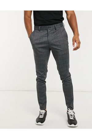 Jack & Jones Pantalones de punto de corte sli a cuadros grises oscuros de Intelligence
