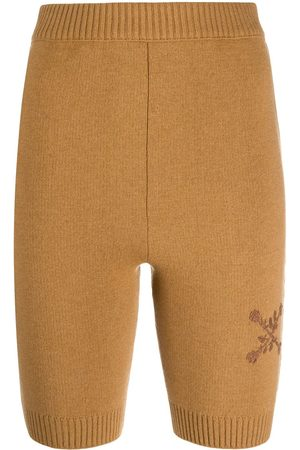 OFF-WHITE TWIN SET SHORTS CAMEL CAMEL