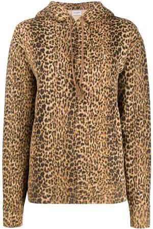 Saint Laurent Sudadera con estampado de leopardo
