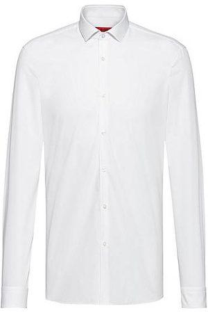 HUGO BOSS Camisa slim fit en popelín de algodón con cuello italiano