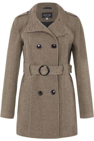 De la creme Gabardina Abrigo de invierno con cinturón de lana para mujer