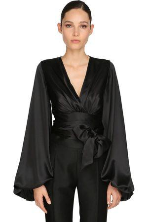 ALEXANDRE VAUTHIER | Mujer Camisa Drapeada De Satén Stretch 34