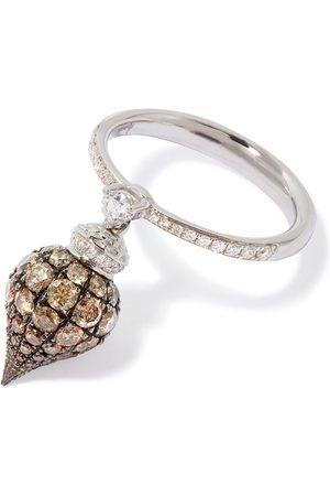 ANNOUSHKA Anillo Touch Wood en oro blanco de 18kt con diamantes