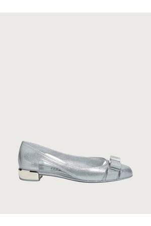 Salvatore Ferragamo Mujer Zapatos Bailarina con lazo Vara Plata Talla 34.5