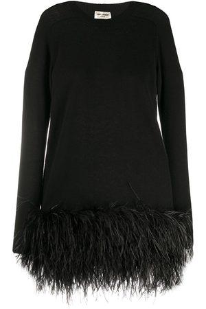 Saint Laurent Vestido corto con dobladillo de plumas