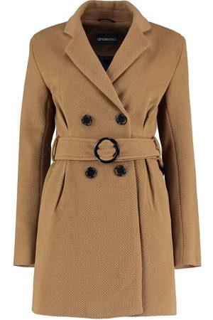 De la creme Gabardina Chaqueta con cinturón de invierno de tweed para mujer