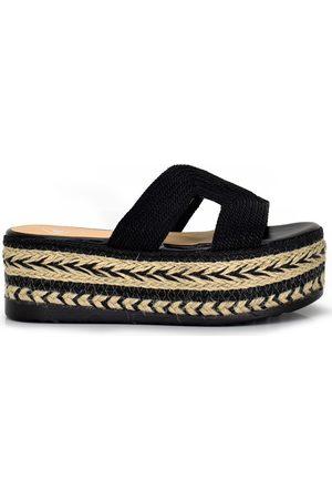 Exé Shoes Sandalias SANDALIA PLATAFORMA ESPARTO TIRA NEGRA A8901-21 para mujer