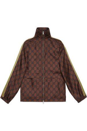 Gucci Chaqueta seda con cremallera y GG Supreme