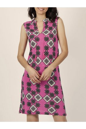 Admas Vestido Robe estivale sans manches Art Deco fuchsia para mujer