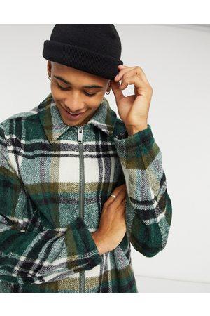ASOS Hombre Abrigos largos - Chaqueta harrington de mezcla de lana a cuadros en y color crudo de