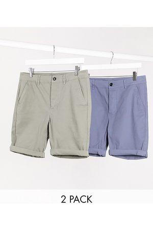 ASOS Hombre Bermudas - Pack de 2 pantalones chinos cortos muy ajustados en caqui y azul de , Ahorra-Multicolor