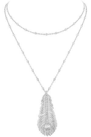 Boucheron 18kt white gold diamond Plume de Paon pendant necklace