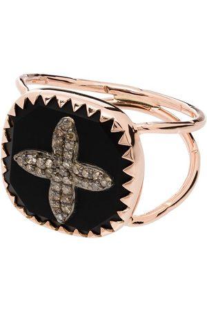 Pascale Monvoisin Anillo Bowie con motivo de cruz en oro rosa de 9kt con diamantes