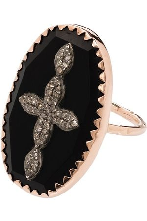 Pascale Monvoisin Anillo Bowie No 2 con motivo de cruz en oro rosa de 9kt con diamantes