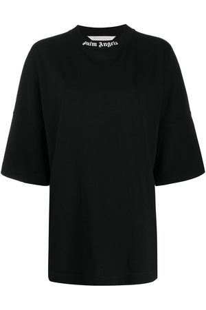 Palm Angels CLASSIC LOGO OVER TEE BLACK WHITE