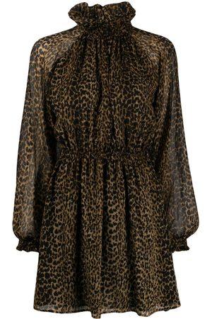 Saint Laurent Vestido corto con estampado de leopardo