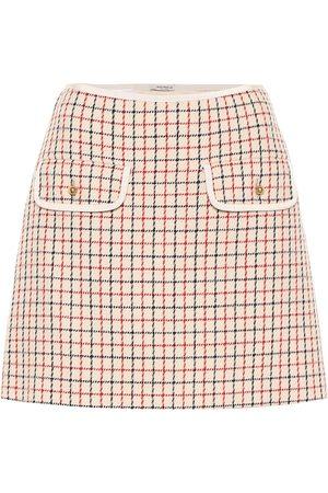 Miu Miu Minifalda de lana virgen a cuadros