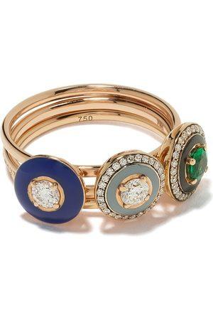 SELIM MOUZANNAR Set de anillos en oro rosa de 18kt con diamantes