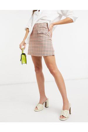 People Tree Minifalda en algodón orgánico a cuadros de pata de gallo de -Rojo