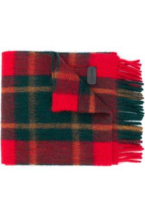 Saint Laurent Bufanda de cuadros escoceses con flecos