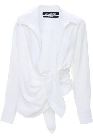 Jacquemus   Mujer Camisa De Viscosa Drapeada Con Lazo 32