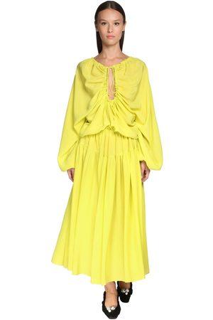Rochas | Mujer Vestido Midi De Seda Crepé Con Volantes 42
