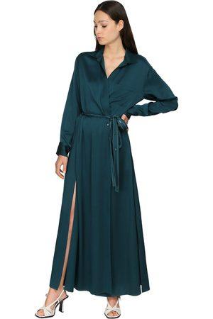 Sies marjan | Mujer Vestido Camisero Envolvente De Satén Crepé 2
