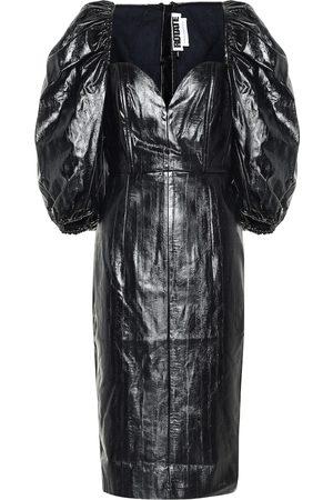ROTATE Vestido midi Irina piel sintética