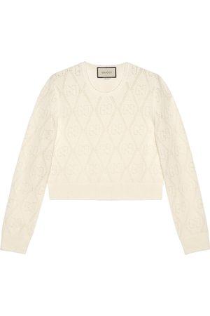 Gucci Mujer Jerséis y suéteres - Jersey corto de lana con GG perforado