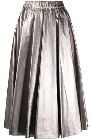 Moncler Falda midi metalizada plisada