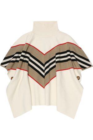Burberry Poncho Icon Stripe mezcla de lana