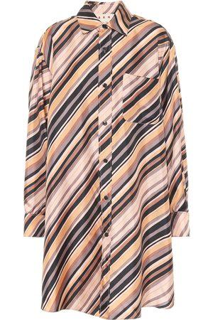 Marni Vestido camisero de seda a rayas
