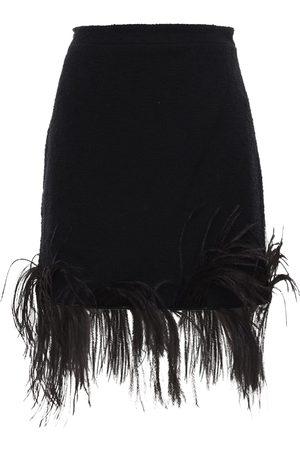 Patou | Mujer Mini Falda De Tweed De Algodón Con Plumas 34