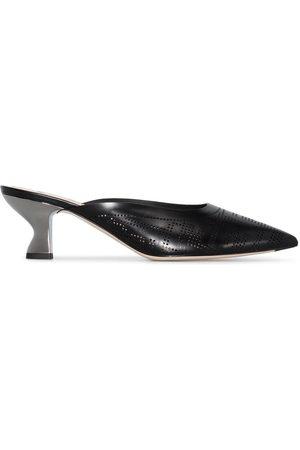 Fendi Black 55 laser cut logo leather mules