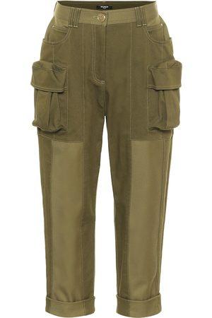 Balmain Pantalones de algodón cropped