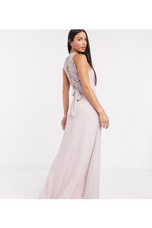 TFNC Mujer Largos - Vestido largo de dama de honor de encaje con diseño cruzado en rosa de