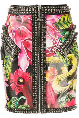 Philipp Plein Minifalda con motivo floral