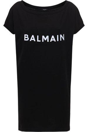Balmain | Mujer Vestido Corto De Punto De Algodón Con Logo /blanco S