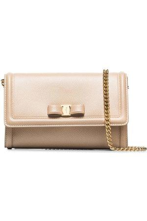 Salvatore Ferragamo Neutral Pelltria leather chain wallet mini bag