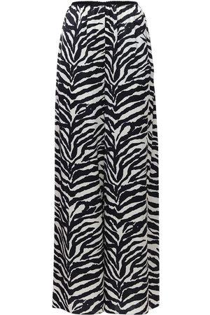 MM6 MAISON MARGIELA | Mujer Pantalones Anchos De Satén Estampado Cebra /blanco 36