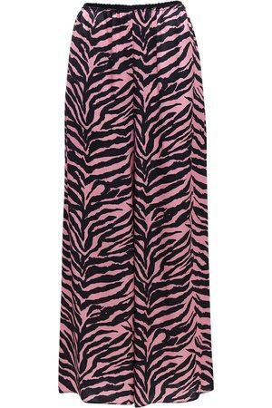 MM6 MAISON MARGIELA | Mujer Pantalones Anchos De Satén Estampado Cebra /negro 36