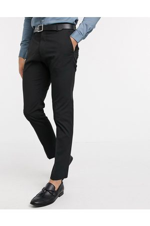 Selected Pantalones de traje negros de corte slim en tejido elástico de