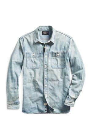 RRL Hombre Casual - Camisa de trabajo de tela vaquera en tono índigo