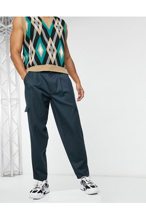 ASOS Pantalones de vestir extragrandes tapered estilo cargo marino de