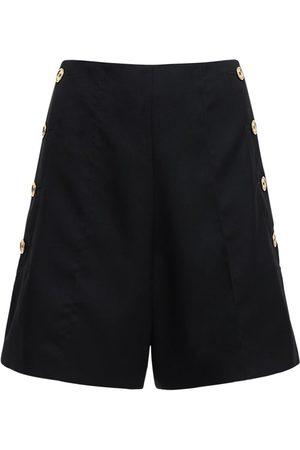 Patou | Mujer Shorts De Lana Con Cintura Alta Y Botones Dorados 34